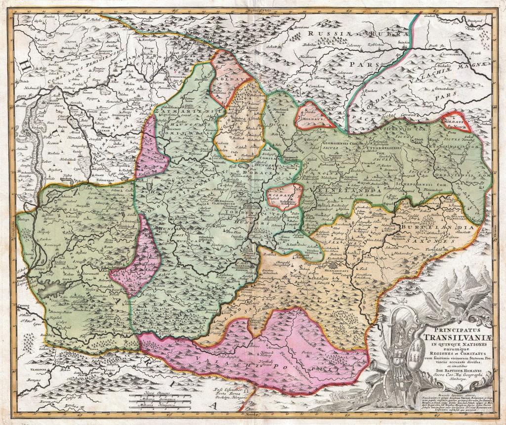 Transilvania în 1716 - Harta Homann (sursa Wikipedia Commons)