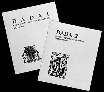 Copertele revistelor Dada 1 şi Dada 2 ale lui Tristan Tzara (Zürich, 1917), Sursa: http://www.artic.edu/reynolds/essays/hofmann.php