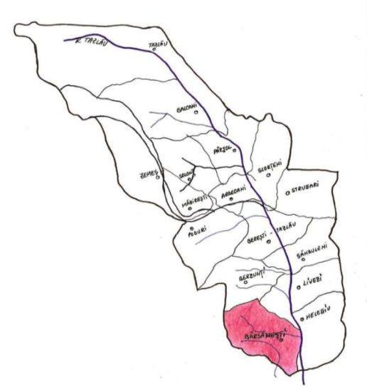 Pozitia comunei Bârsănești în cadrul Depresiunii Tazlău-Cașin