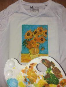 """Reproducere pe tricou a tabloului """"Floarea soarelui"""", Van Gogh"""